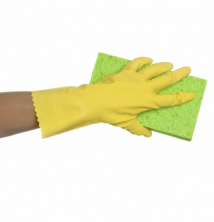 Flocklined Rubber Gloves - Yellow